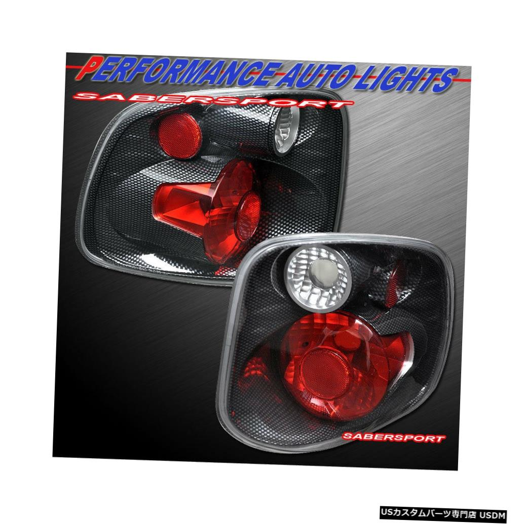 Tail light 2001-2003 Ford F-150 SuperCrew Flaresideペアカーボンルックテールライトセット Set of Pair Carbon Look Taillights for 2001-2003 Ford F-150 SuperCrew Flareside