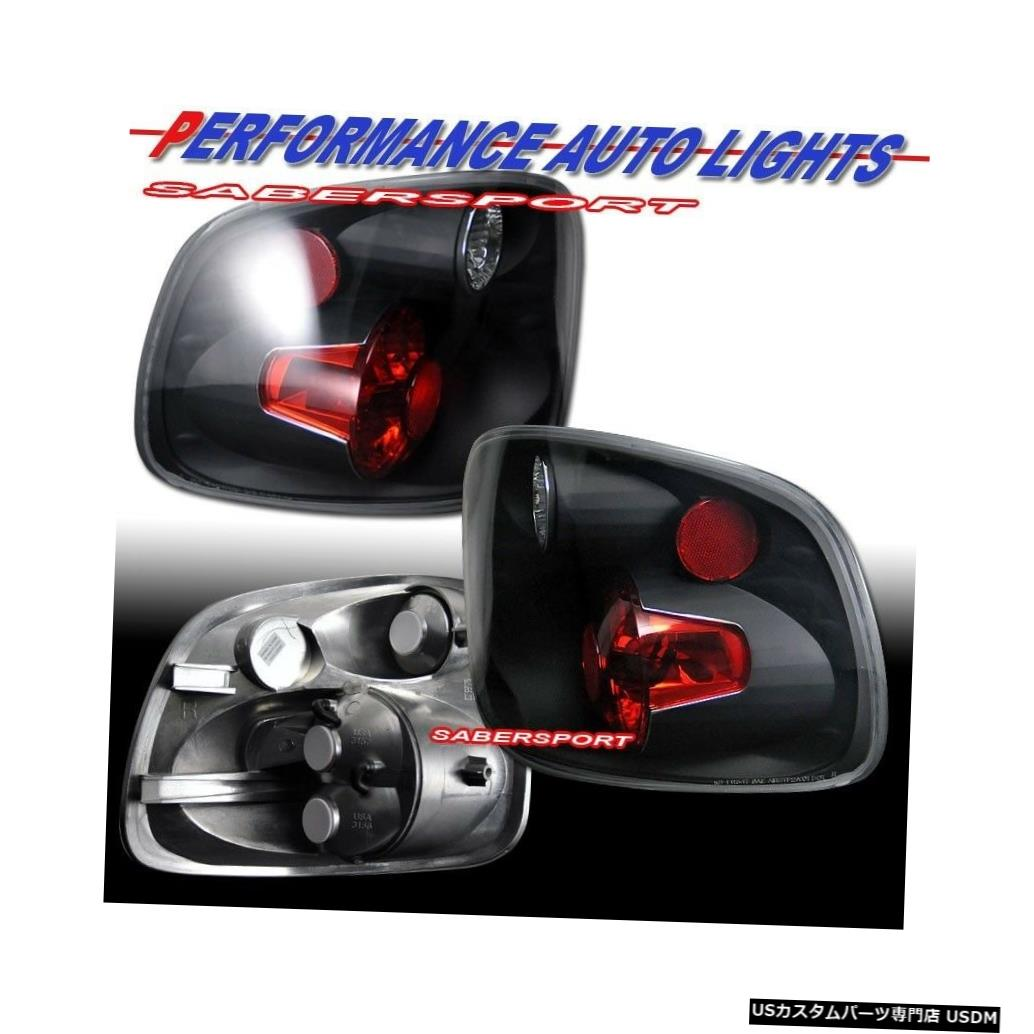 Tail light 1997-2000 Ford F-150用ペアブラックテールライトセット、フレアサイドベッド付き Set of Pair Black Taillights for 1997-2000 Ford F-150 with Flareside Bed