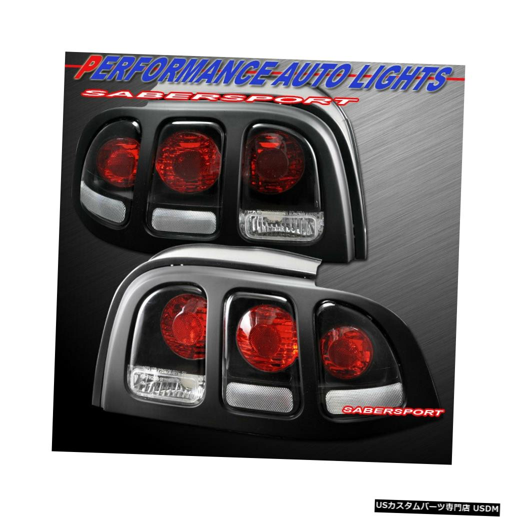 Tail light 1996-1998 Ford MustangのペアブラックAltezzaスタイルテールライトのセット Set of Pair Black Altezza Style Taillights for 1996-1998 Ford Mustang