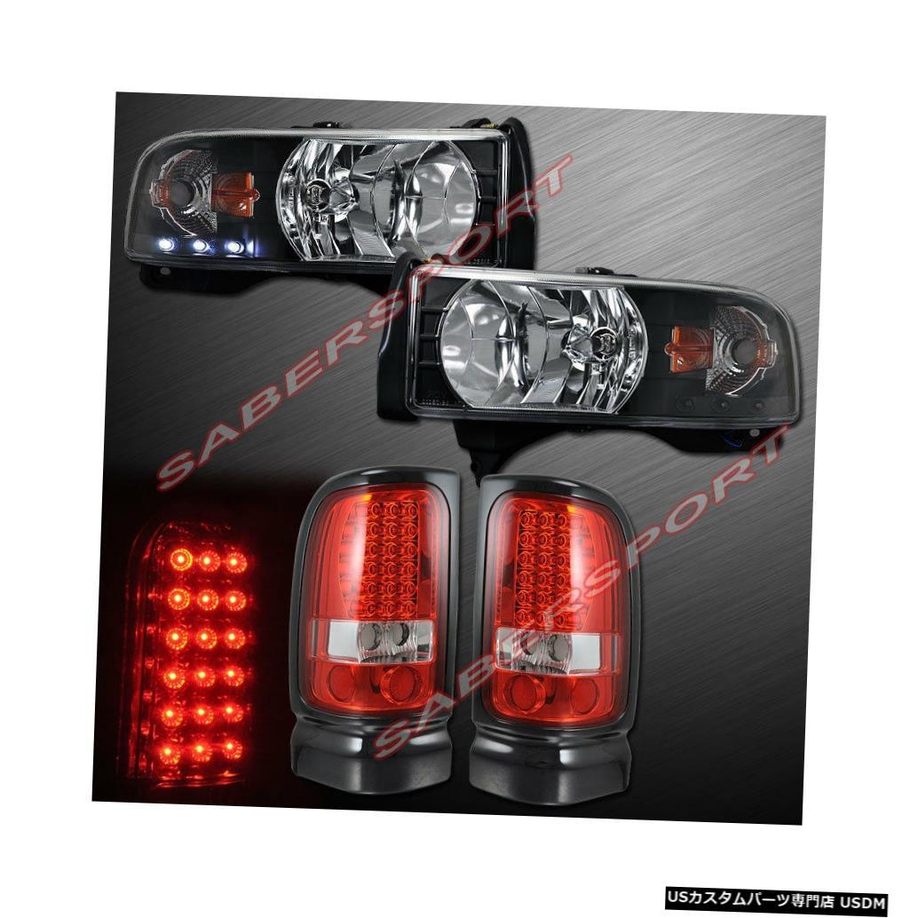 Tail light ワンピーススタイルブラックヘッドライト+ 94-01ダッジラムピックアップ用LEDテールライト One Pieces Style Black Headlights + LED Taillights for 94-01 Dodge Ram Pickup