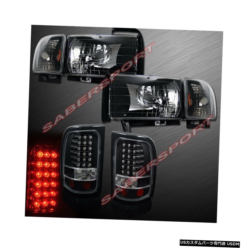 Tail light ユーロブラックヘッドライトのコンボセット+ 94-01ダッジラムピックアップ用LEDテールライト Combo Set of Euro Black Headlights + LED Taillights for 94-01 Dodge Ram Pickup