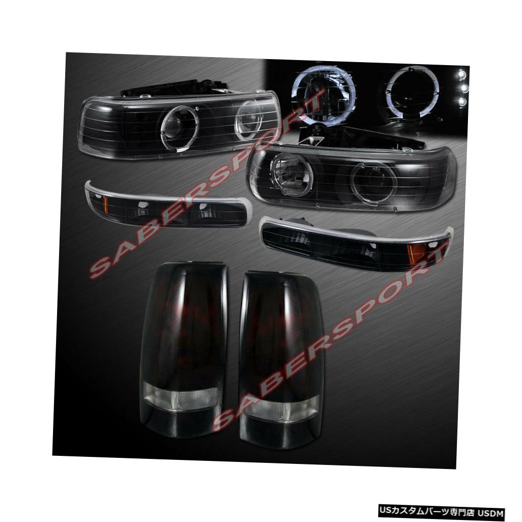 Tail light コンボブラックHaloプロジェクターヘッドライト+ 99-02シルバラード用ダークレッドテールライト Combo Black Halo Projector Headlights + Dark Red Taillights for 99-02 Silverado