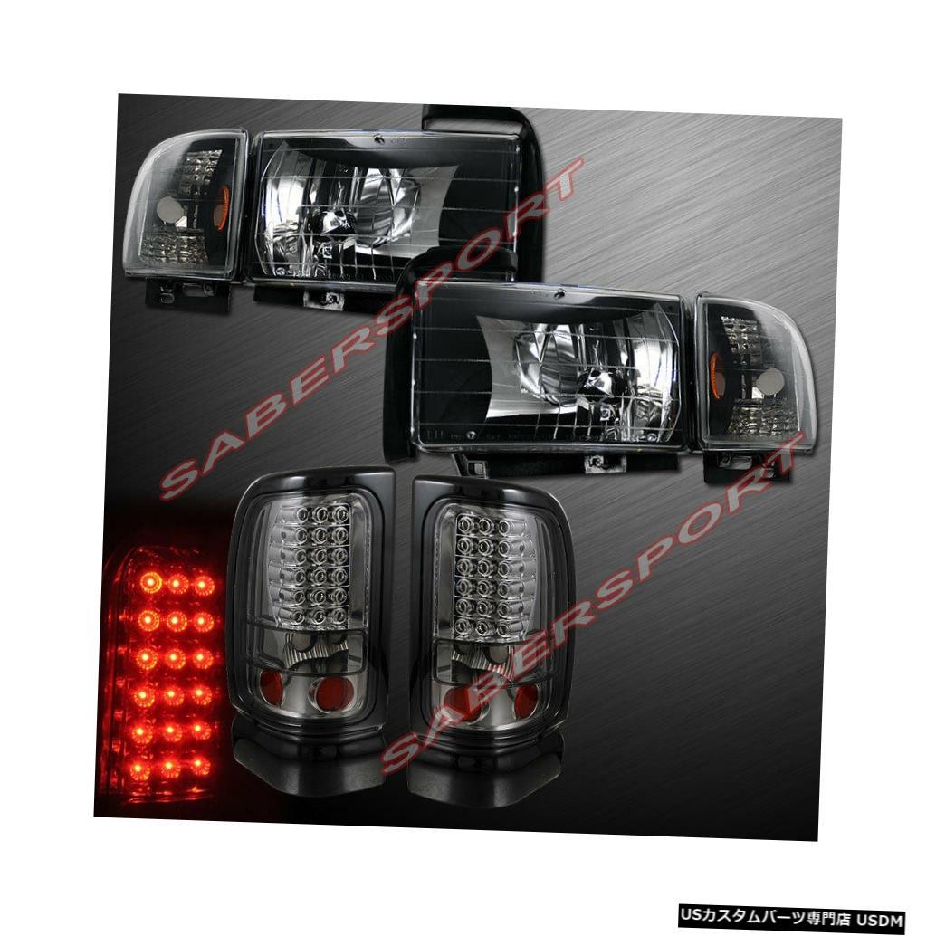 Tail light ユーロブラックヘッドライトのセット+ 94-01ダッジラムピックアップ用スモークLEDテールライト Set of Euro Black Headlights + Smoke LED Taillights for 94-01 Dodge Ram Pickup
