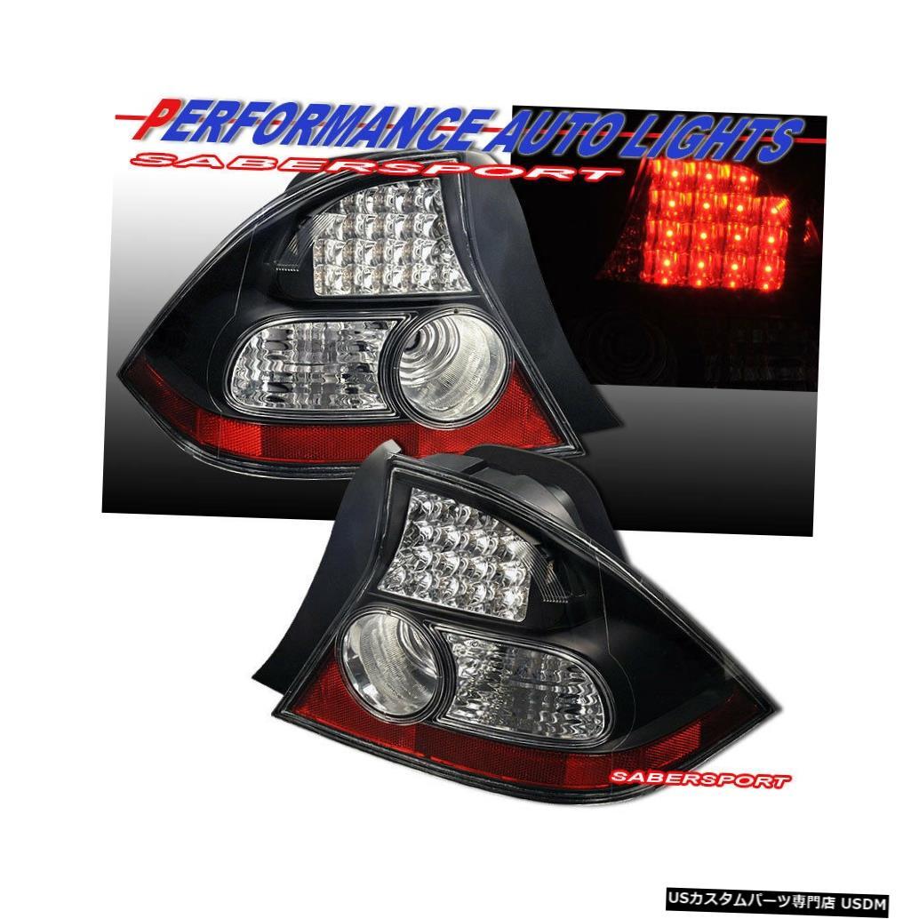 Tail light 2004-2005 Honda Civic 2dr CoupeのペアブラックLEDテールライトセット Set of Pair Black LED Taillights for 2004-2005 Honda Civic 2dr Coupe