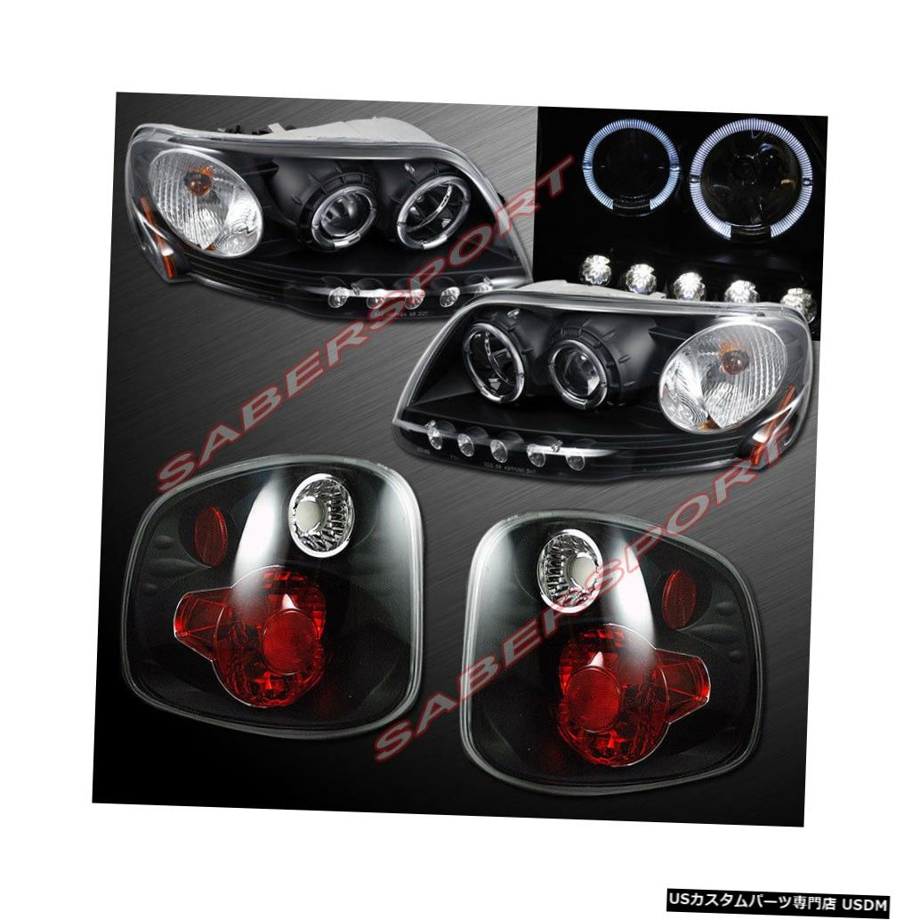 Tail light 01-03 F-150 SuperCrew Flareside用ブラックハロプロジェクターヘッドライト+テールライト Black Halo Projector Headlights + Taillights for 01-03 F-150 SuperCrew Flareside