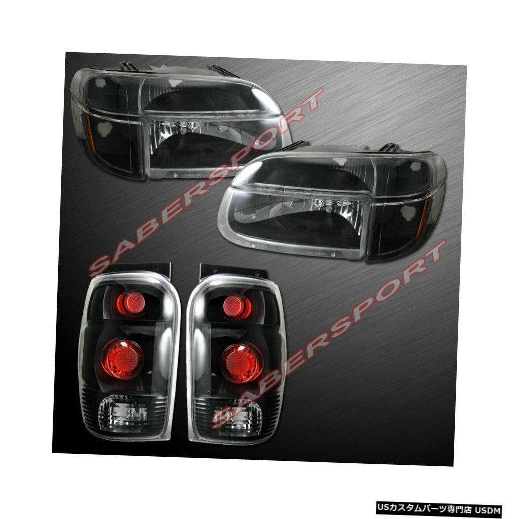 Tail light 1998-2001フォードエクスプローラー用ブラックヘッドライトセット(コーナー+テールライト付き) Set of Black Headlights w/ Corner + Taillights for 1998-2001 Ford Explorer