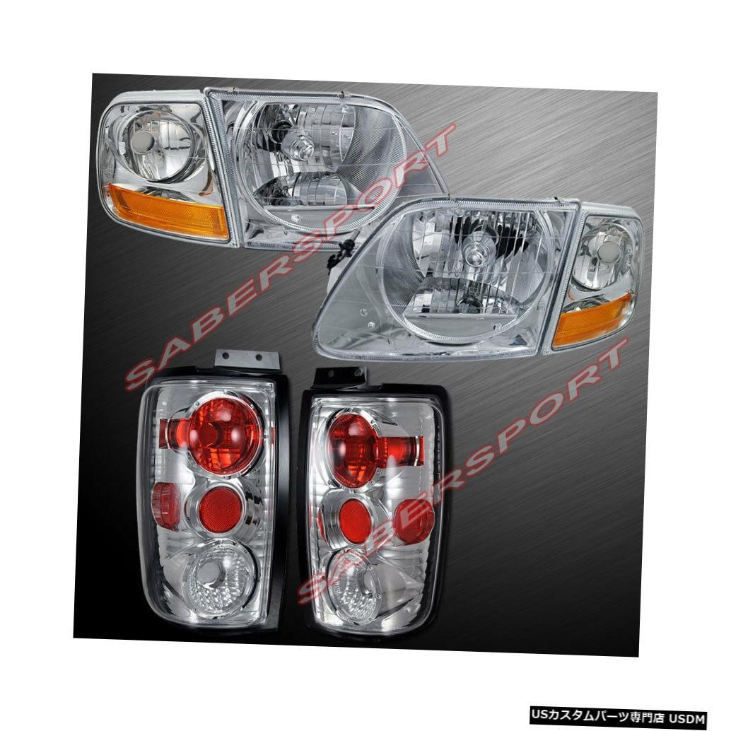 Tail light コーナー付きユーロクリアヘッドライト+ 97-02フォードエクスペディション用テールライトのセット Set of Euro Clear Headlights w/ Corner + Taillights for 97-02 Ford Expedition