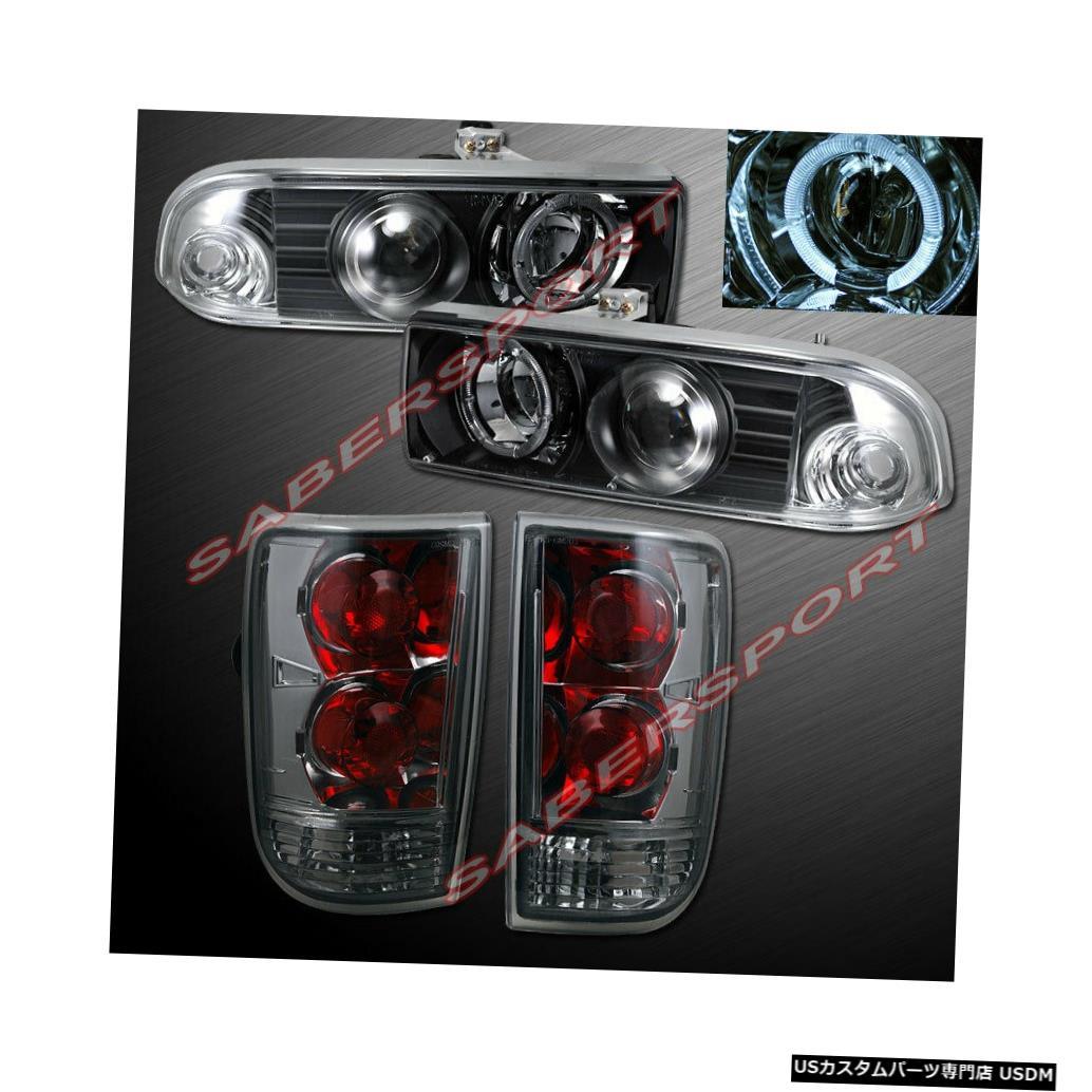 Tail light ブラックハロープロジェクターヘッドライトのセット+ 98-04ブレザー用スモークテールライト Set of Black Halo Projector Headlights + Smoke Taillights for 98-04 Blazer