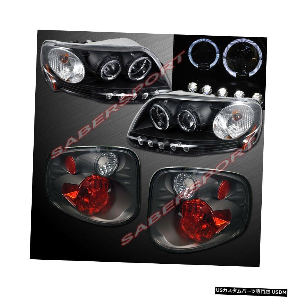 Tail light 01-03 F-150フレアサイド用ブラックハロープロジェクターヘッドライト+スモークテールライト Black Halo Projector Headlights + Smoke Taillights for 01-03 F-150 Flareside