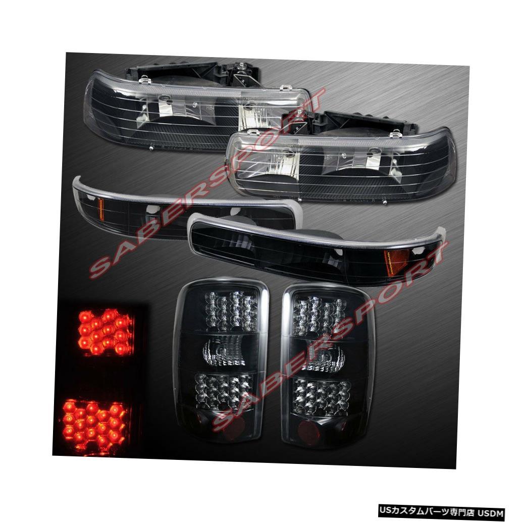 <title>車用品 バイク用品 >> パーツ [ギフト/プレゼント/ご褒美] ライト ランプ ブレーキ テールランプ Tail light 00-06郊外タホ用のパークシグナル+ LEDテールライト付きのブラックヘッドライトのセット Set of Black Headlights w park Signal + LED Taillights for 00-06 Suburban Tahoe</title>
