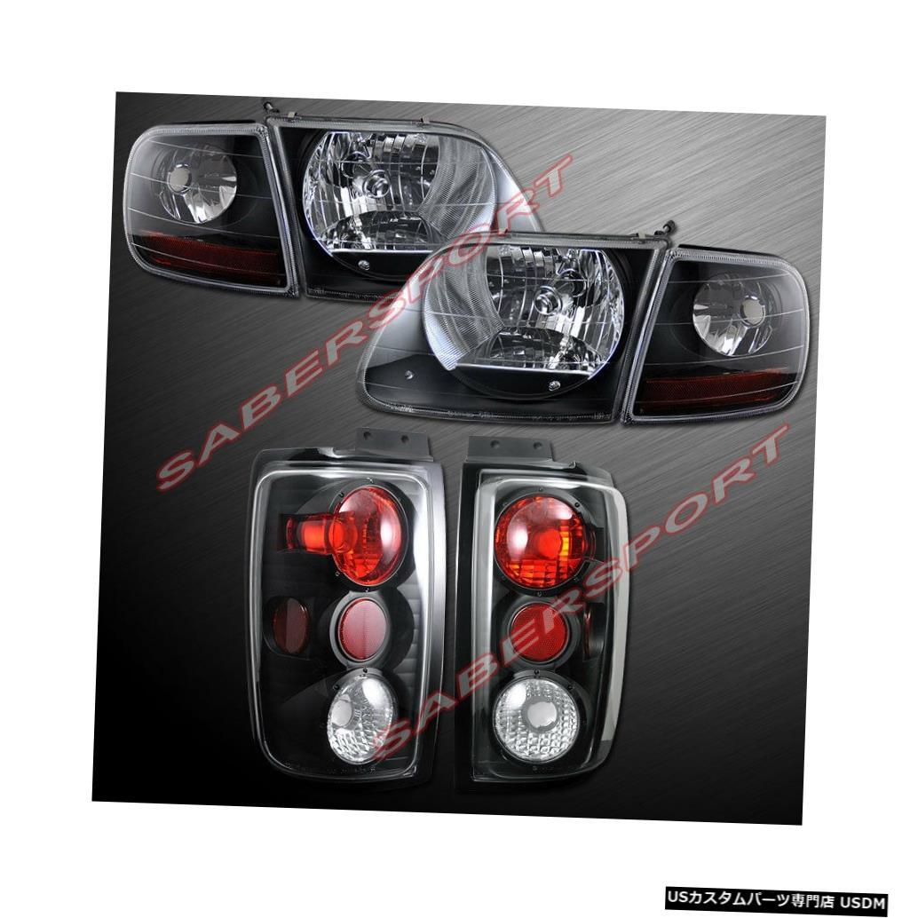 Tail light 97-02フォードエクスペディション用コーナー+テールランプ付きのブラックハウジングヘッドライトのセット Set of Black Housing Headlights w/ Corner + Taillights for 97-02 Ford Expedition