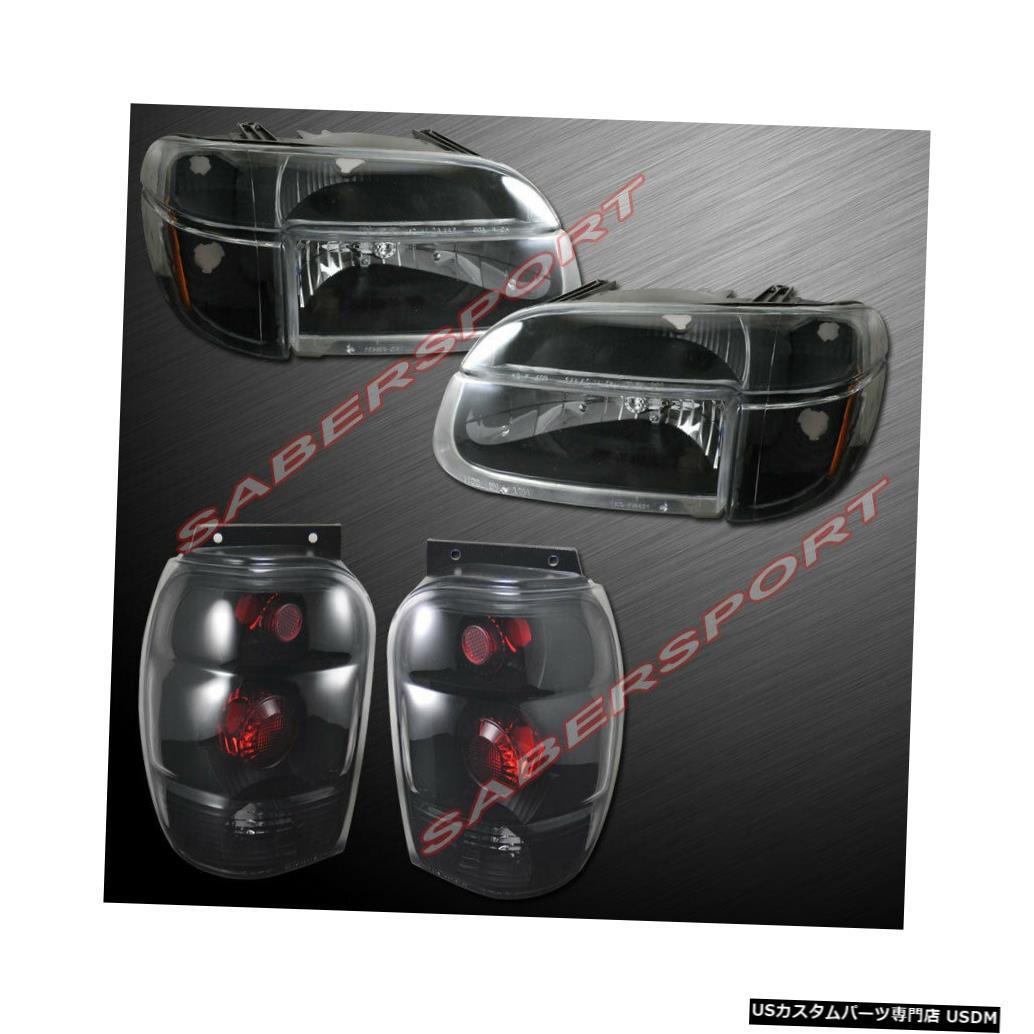 Tail light 1998-2001フォードエクスプローラー用のコーナー+テールライト付きブラックヘッドライトのコンボセット Combo set of Black Headlights w/ Corner + Taillights for 1998-2001 Ford Explorer
