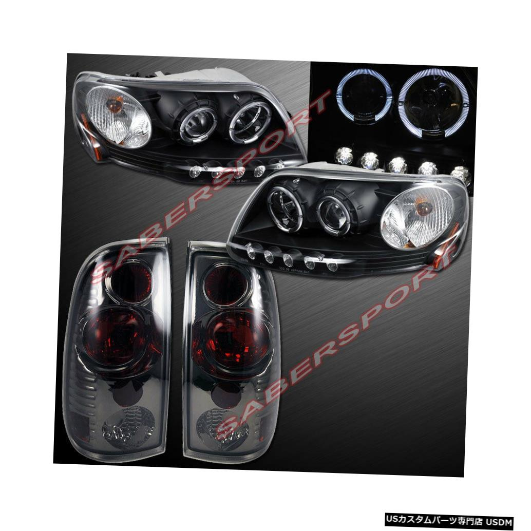 Tail light 1997.8-2003 Ford F-150用ブラックハロープロジェクターヘッドライト+スモークテールライト Black Halo Projector Headlights + Smoke Taillights for 1997.8-2003 Ford F-150