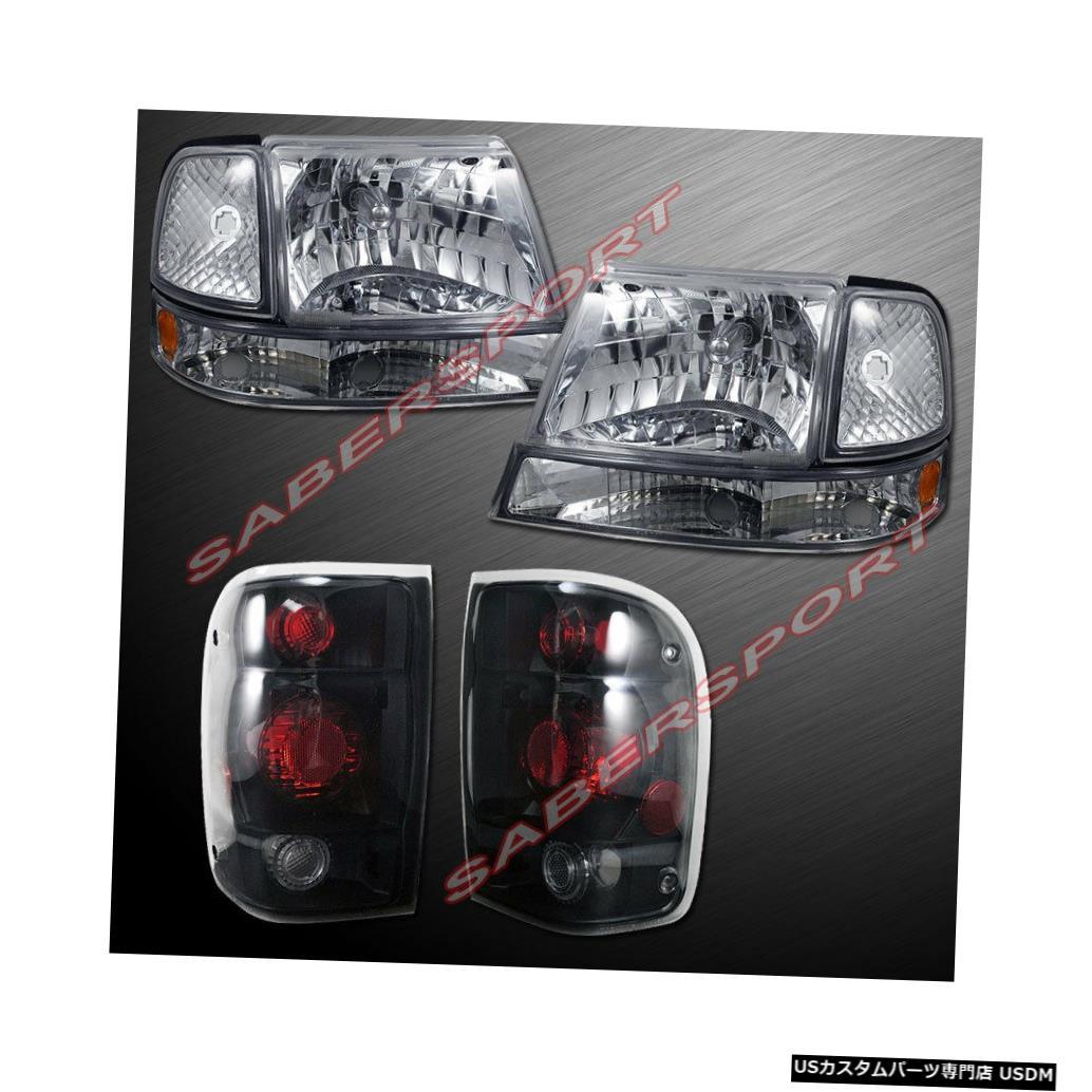 Tail light 1998-1999フォードレンジャー用のユーロクリアヘッドライト/コーナーおよびスモークテールライト Euro Clear Headlights w/ Corner and Smoke Taillights for 1998-1999 Ford Ranger