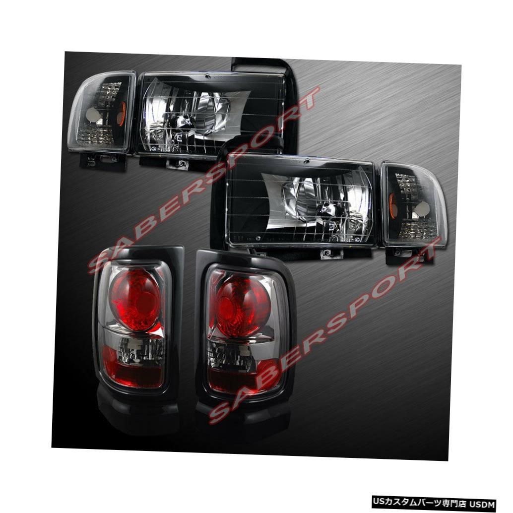 Tail light ユーロブラックヘッドライトとスモークテールライトのコンボセット、94-01ダッジラムピックアップ用 Combo Set of Euro Black Headlights + Smoke Taillights for 94-01 Dodge Ram Pickup