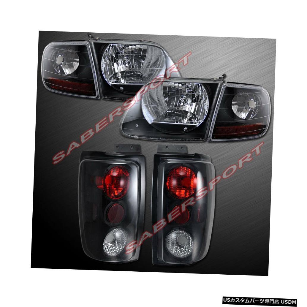 Tail light 97-02フォードエクスペディション用ブラックハウジングヘッドライト/コーナー+スモークテールライト Black Housing Headlights w/ Corner + Smoke Taillights for 97-02 Ford Expedition