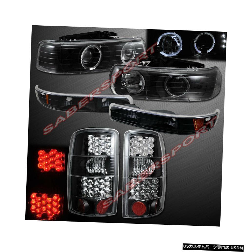 Tail light コンボブラックHaloプロジェクターヘッドライト+ 00-06サバーバンタホ用LEDテールライト Combo Black Halo Projector Headlights + LED Taillights for 00-06 Suburban Tahoe