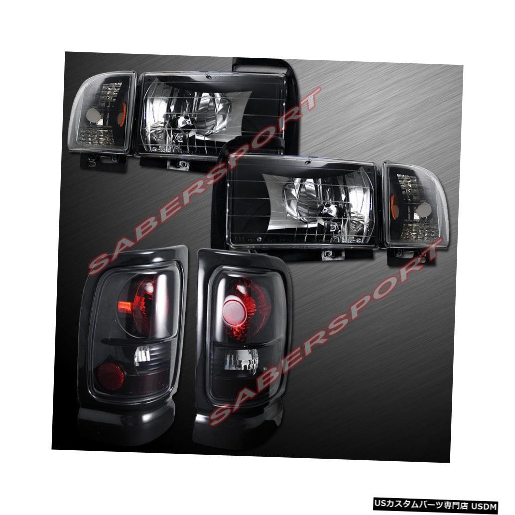 Tail light 94-01ダッジラムピックアップ用ユーロクリアブラックヘッドライト+テールライトのコンボセット Combo Set of Euro Clear Black Headlights + Taillights for 94-01 Dodge Ram Pickup
