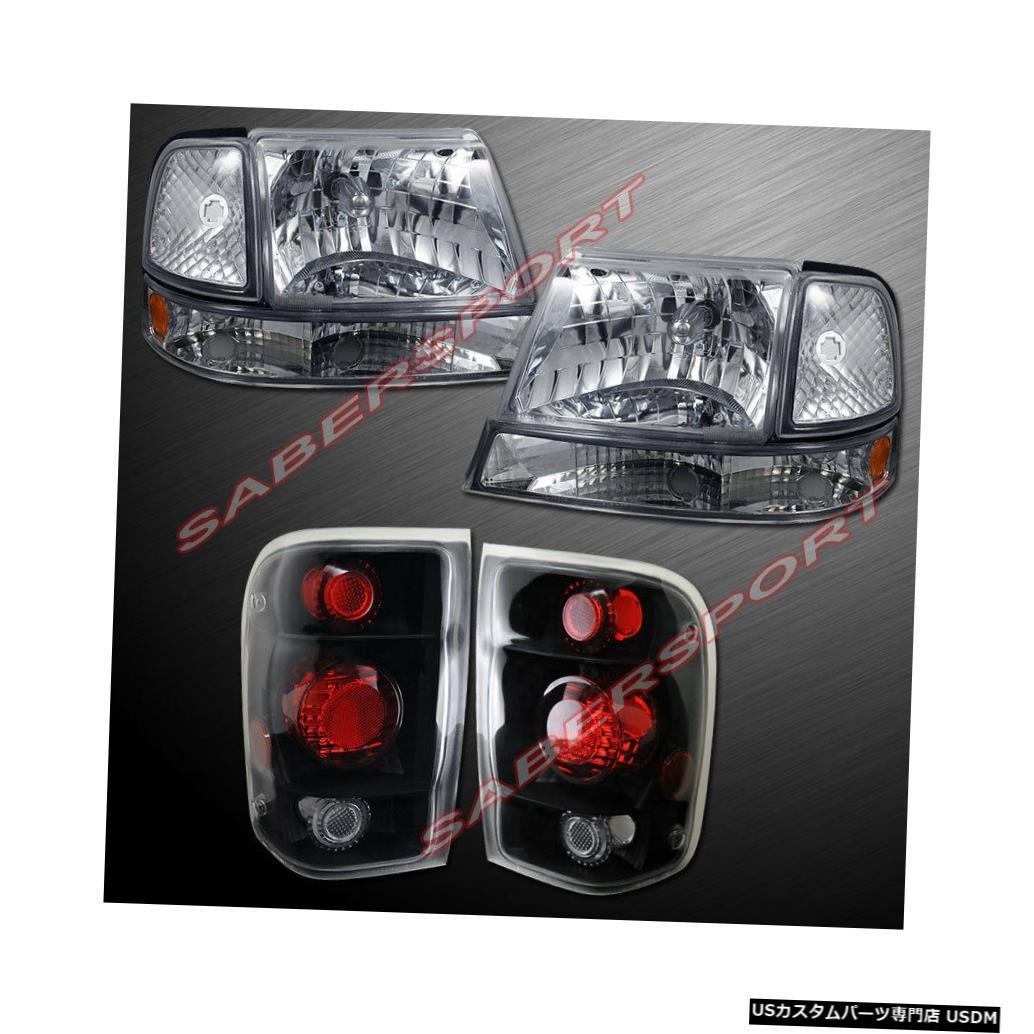 Tail light 1998-1999 Ford Rangerのユーロクリアヘッドライト/コーナーおよびブラックテールライト Euro Clear Headlights w/ Corner and Black Taillights for 1998-1999 Ford Ranger