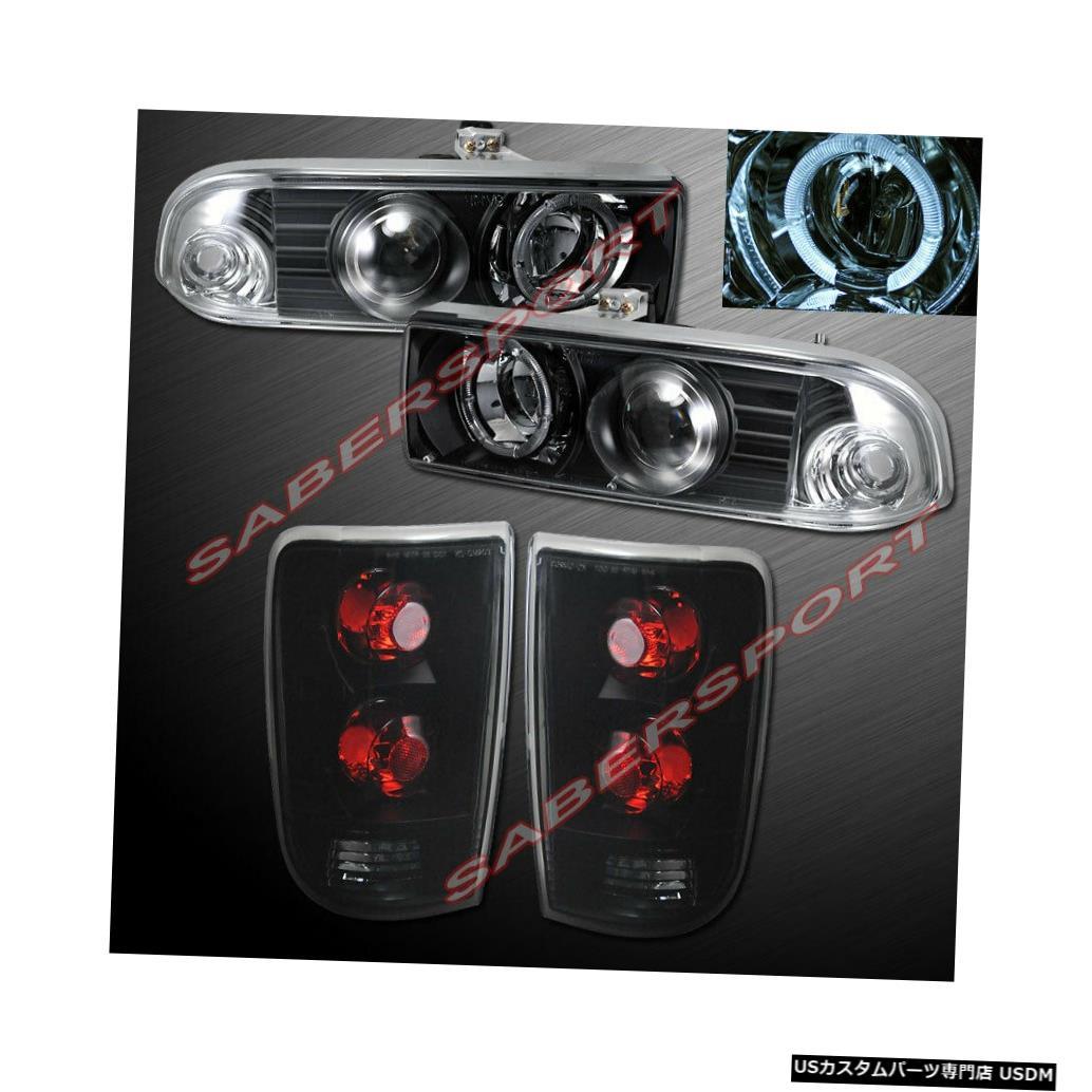 Tail light 98-04シボレーブレザー用ブラックハロープロジェクターヘッドライト+テールライトのセット Set of Black Halo Projector Headlights + Taillights for 98-04 Chevrolet Blazer