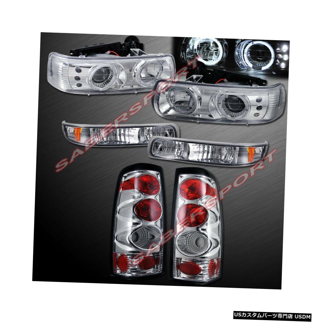 Tail light コンボHaloプロジェクターヘッドライト、パークシグナル付き+ 99-02シルバラード用テールライト Combo Halo Projector Headlights w/ Park Signal + Taillights for 99-02 Silverado