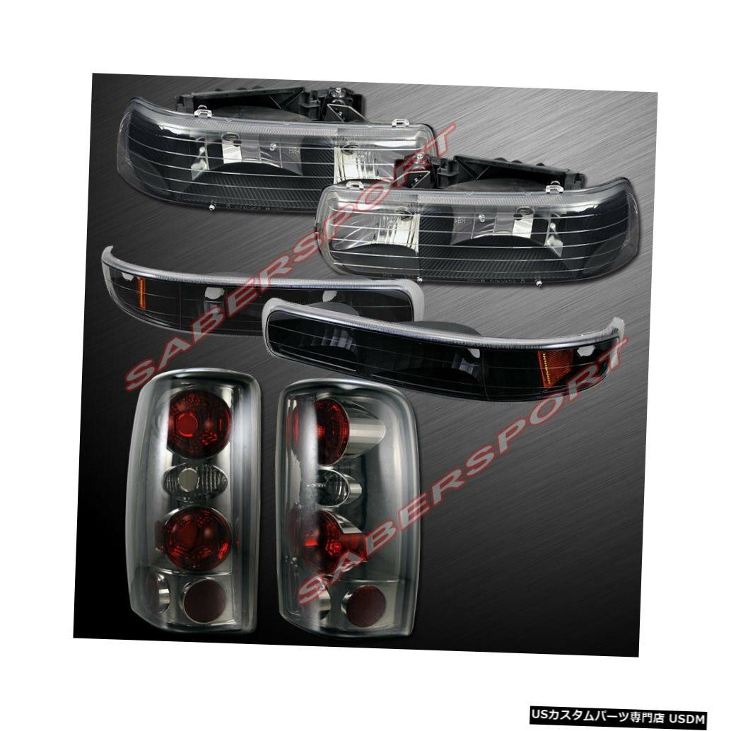 Tail light 2000-2006郊外タホ用パークシグナル+スモークテールライト付きブラックヘッドライト Black Headlights w/ Park Signal + Smoke Taillights for 2000-2006 Suburban Tahoe