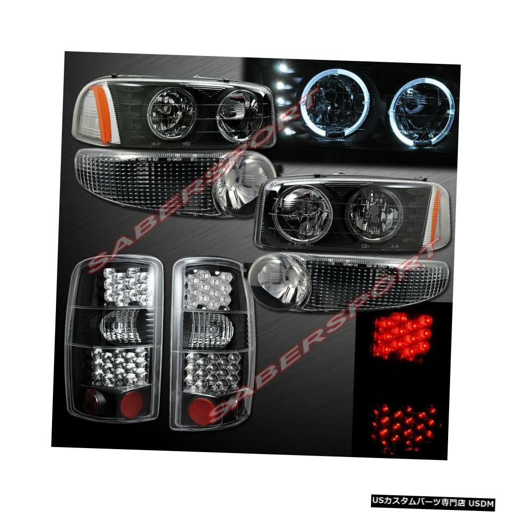 Tail light ブラックハロヘッドライト+パークシグナル+ 01-06ユーコンデナリ用LEDテールライトセット Black Halo Headlights + Park Signal + LED Taillights Set for 01-06 Yukon Denali