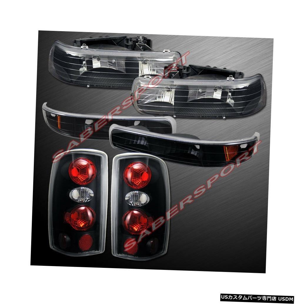 Tail light 2000?2006年の郊外のタホ向け、パークシグナル+テールランプ付きのブラックヘッドライトのセット Set of Black Headlights w/ Park Signal + Taillights for 2000-2006 Suburban Tahoe