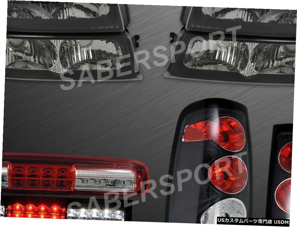 Tail light 03-06シェビーシルバラード1500用ブラックヘッドライト+テールライト+ LED 3ブレーキ Black Headlights + Tail Lights + LED 3rd Brake for 03-06 Chevy Silverado 1500