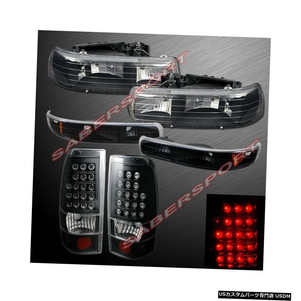Tail light 1999-2002 Silverado用のパークシグナル+ LEDテールライト付きのブラックヘッドライトのセット Set of Black Headlights w/ Park Signal + LED Taillights for 1999-2002 Silverado