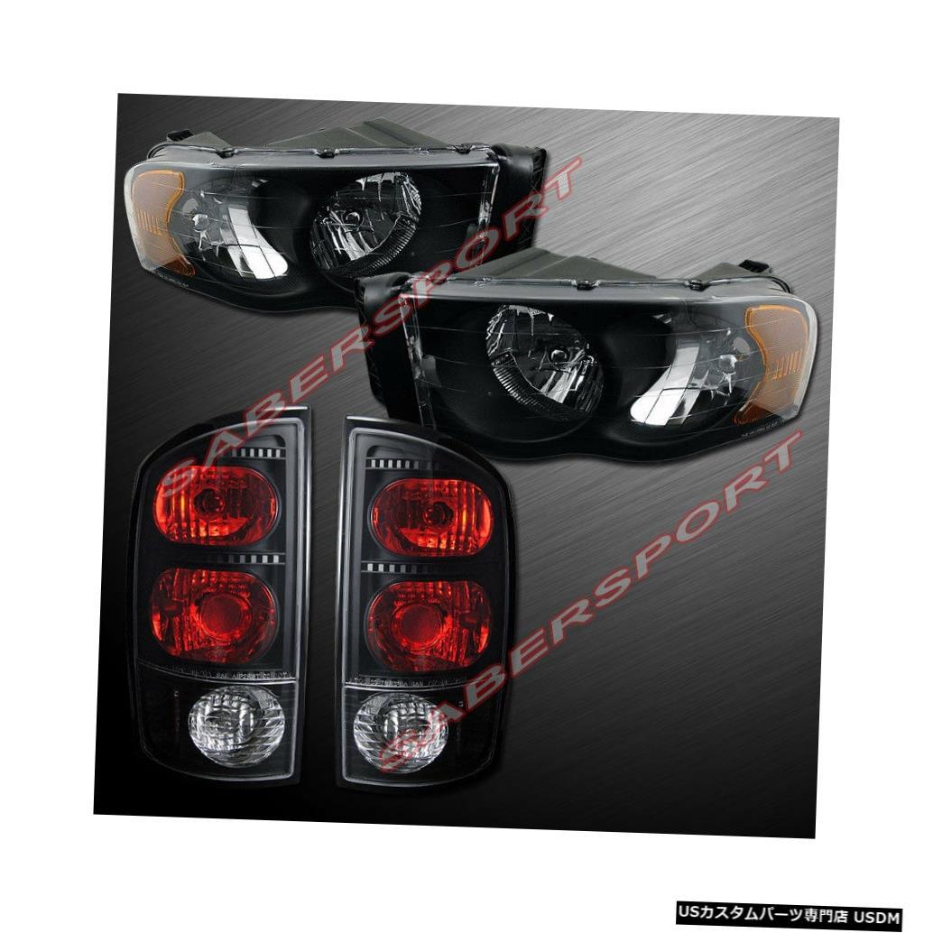 Tail light 02-05 Ram 1500および03-05 Ram 2500/3500用のブラックヘッドライト+テールライトのセット Set of Black Headlights + Taillights for 02-05 Ram 1500 and 03-05 Ram 2500/3500