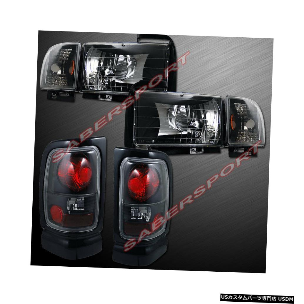 Tail light ユーロクリアブラッククリアヘッドライト+ 94-01ダッジラムピックアップ用テールライト Euro Clear Black Clear Headlights + Taillights for 94-01 Dodge Ram Pickup