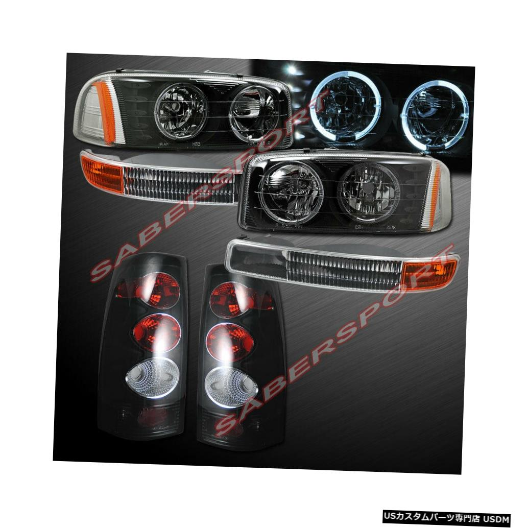 Tail light 99-03シエラ1500 2500用のブラックハロヘッドライト+パークシグナル+ SMテールライト Black Halo Headlights + Park Signal + SM Taillights for 99-03 Sierra 1500 2500