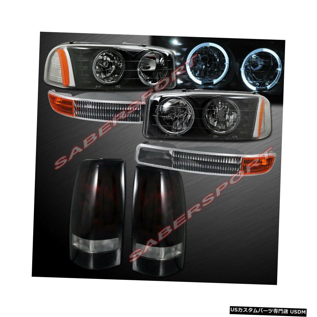 Tail light 99-03シエラ用ブラックハローヘッドライト+パークシグナル+ダークレッドレンズテールライト Black Halo Headlights + Park Signal + Dark Red Lens Taillights for 99-03 Sierra