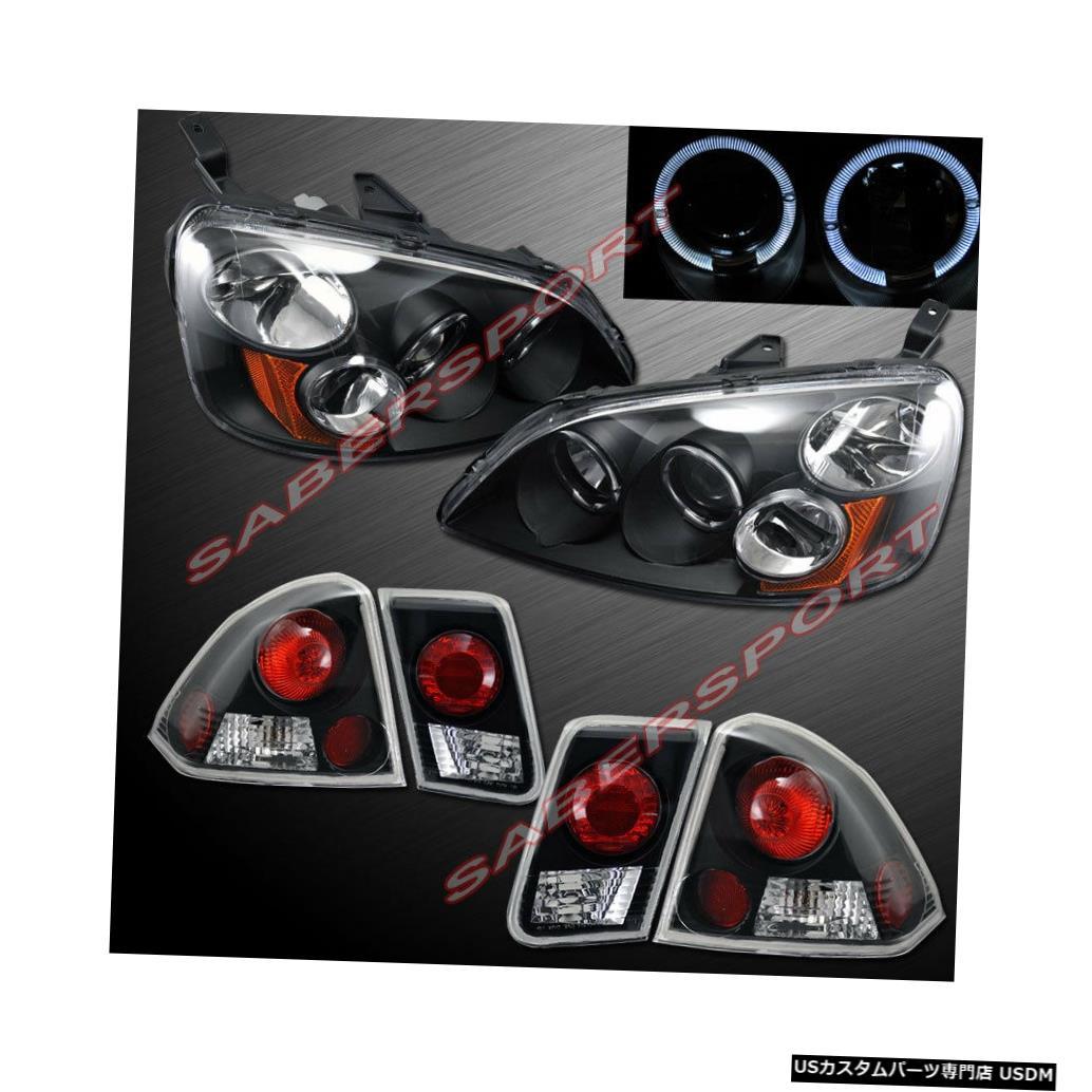<title>車用品 バイク用品 >> パーツ ライト ランプ ブレーキ テールランプ Tail light 2001-2003 Civic SedanのHaloリム+テールライト付きブラックプロジェクターヘッドライト Black Projector Headlights w 至高 Halo Rims + Taillights for Sedan</title>