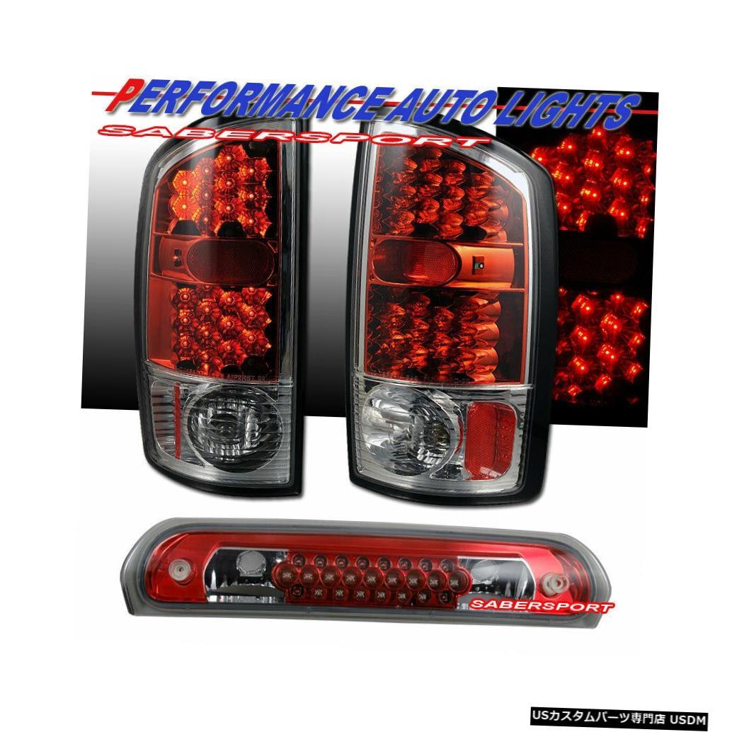 Tail light 赤いLEDテールライトのセット+ 2002-2005 Dodge Ram 1500用の第3ブレーキライト Set of Red LED Taillights + 3rd Brake Light for 2002-2005 Dodge Ram 1500
