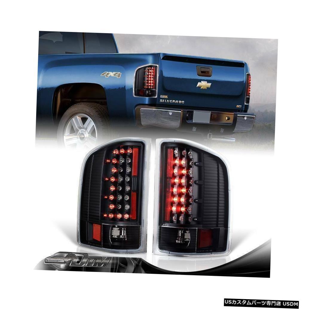 Tail light 2007-2013 GMC Sierra 3500HDブラックハウジングCスタイルLEDリアテールライトランプ For 2007-2013 GMC Sierra 3500HD Black Housing C-Style LED Rear Tail Lights Lamps