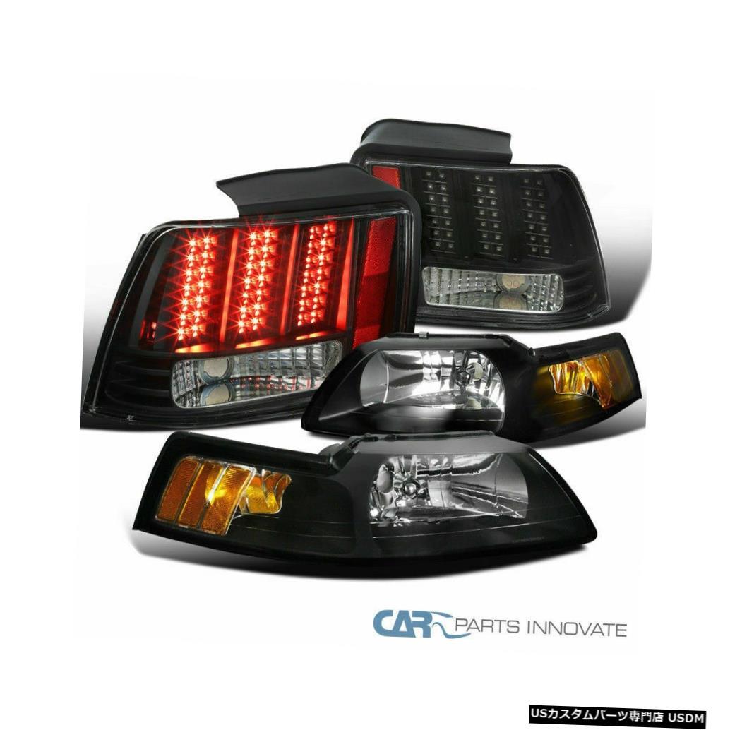 Tail light フォード99-04マスタングブラックヘッドライト+ LEDシーケンシャルリアテールブレーキパーキングランプ Ford 99-04 Mustang Black Headlights+LED Sequential Rear Tail Brake Parking Lamps