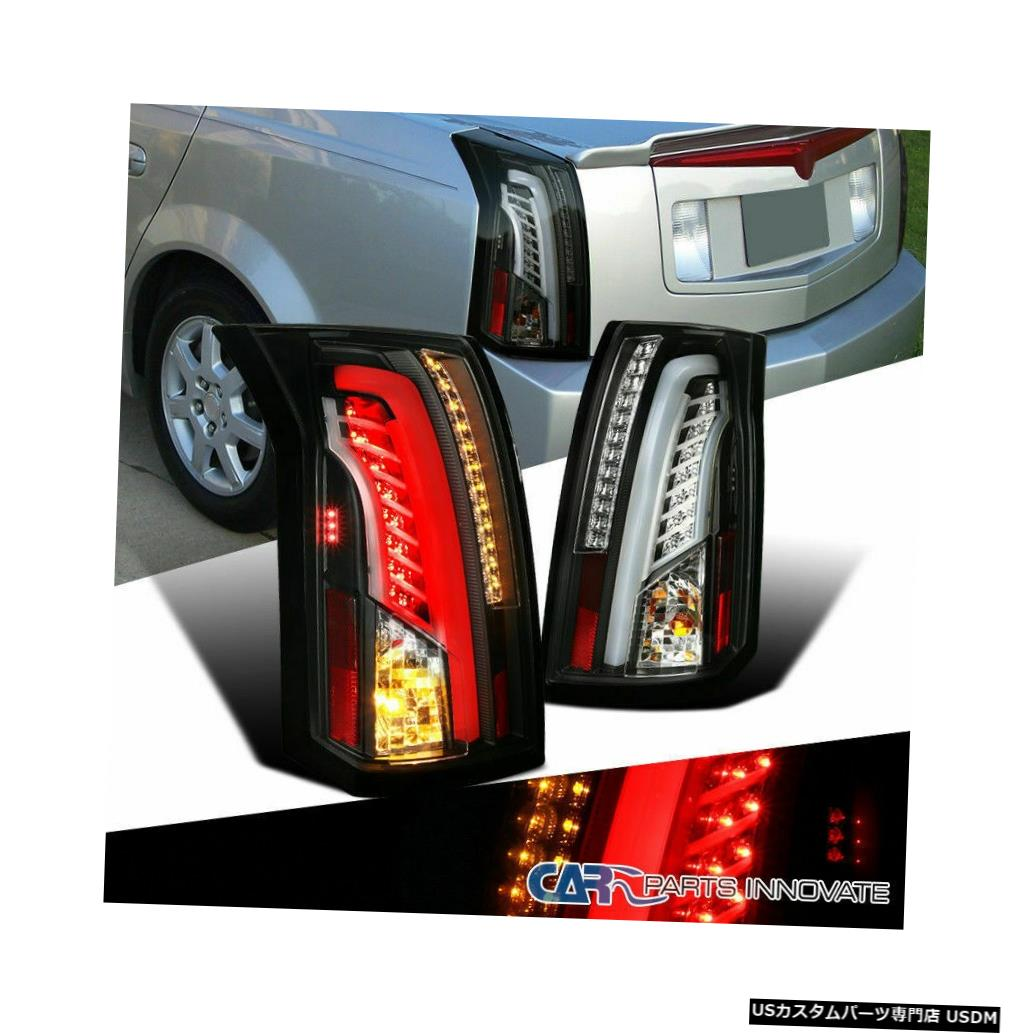 Tail light キャデラック03-07 CTSブラックLEDバーパーキングテールライトリアブレーキランプペア For Cadillac 03-07 CTS Black LED Bar Parking Tail Lights Rear Brake Lamps Pair