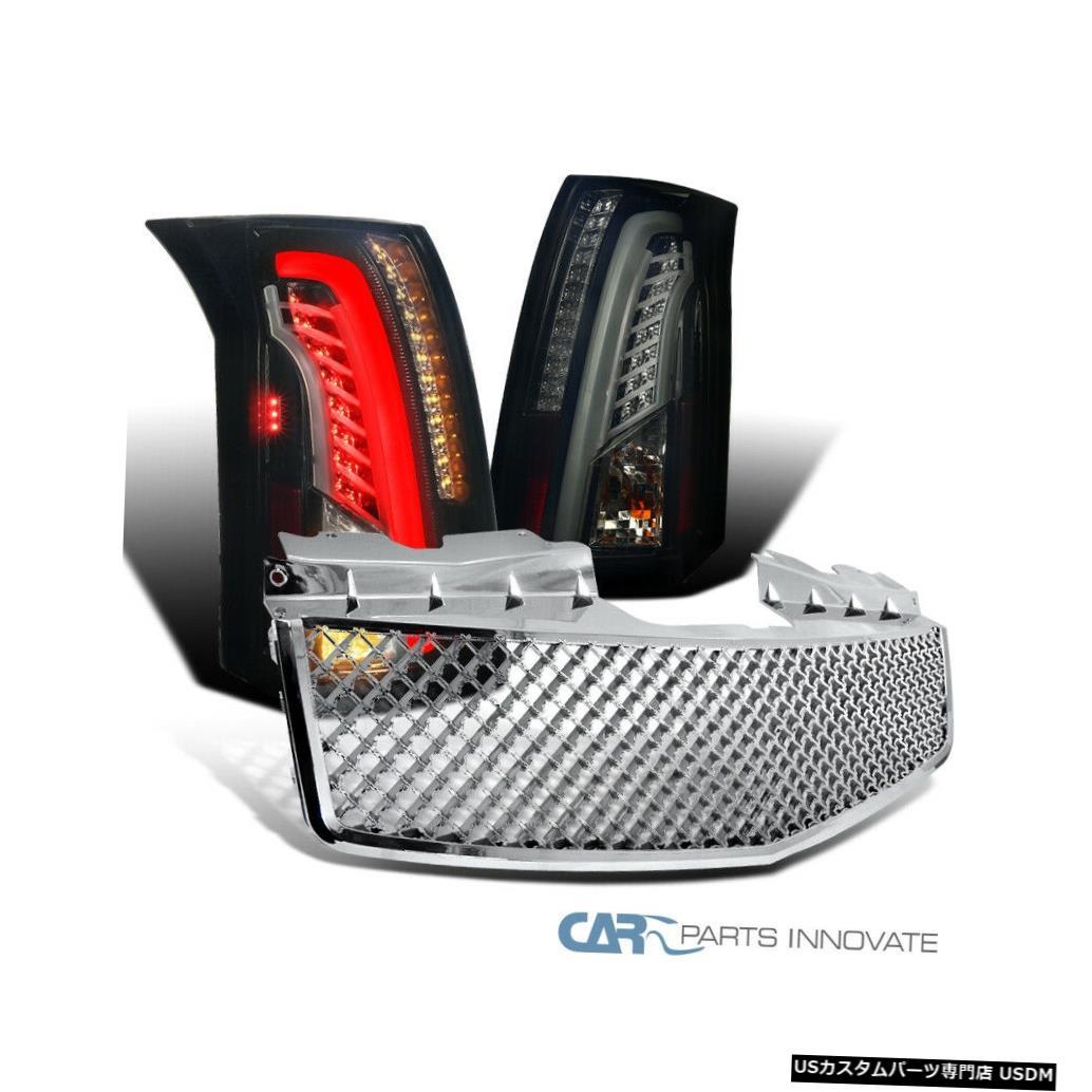 Tail light キャデラック03-07 CTS光沢のあるブラックLEDバーテールライト+クロムABSメッシュフードグリル Cadillac 03-07 CTS Glossy Black LED Bar Tail Lights+Chrome ABS Mesh Hood Grille