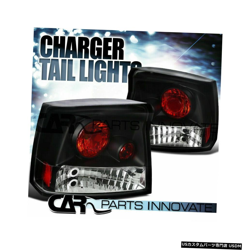 Tail light 05-08ダッジチャージャー用ブラッククリアリバースパーキングテールライトリアブレーキランプ For 05-08 Dodge Charger Black Clear Reverse Parking Tail Lights Rear Brake Lamps