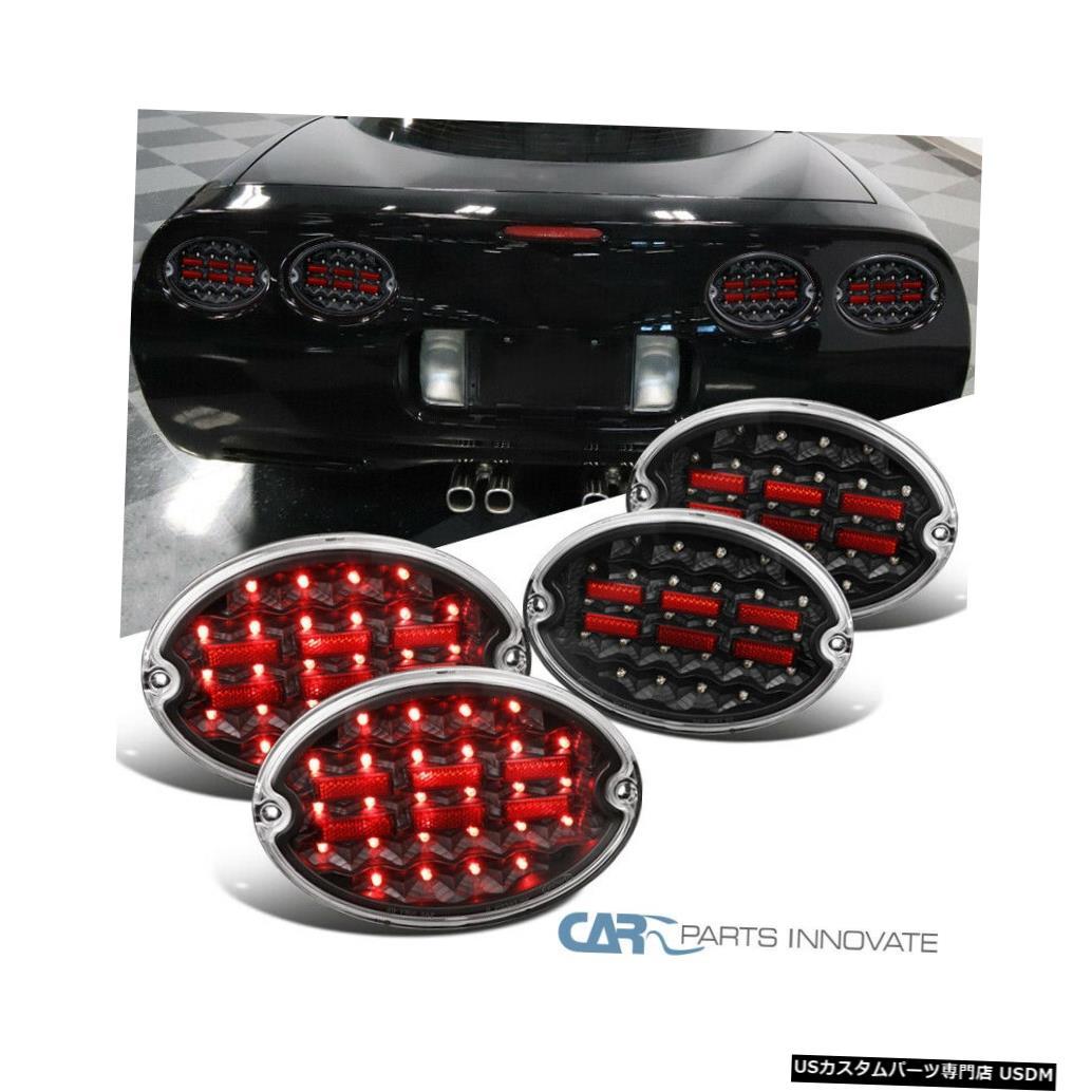 Tail light 97-04シボレーコルベットブラックフルLEDテールライトリアブレーキランプ4PC信号用 For 97-04 Chevy Corvette Black Full LED Tail Lights Rear Brake Lamps 4PC Signal