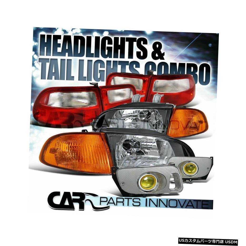 Tail light フィット92-95シビック3Dr HBブラックヘッドライト+アンバーコーナー+フォグランプ+レッドテールライト Fit 92-95 Civic 3Dr HB Black Headlights+Amber Corner+Fog Lamps+Red Tail Lights