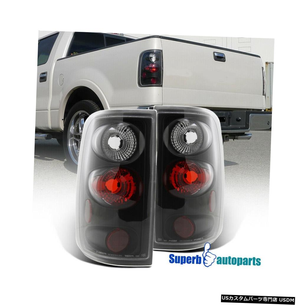 Tail light 2004-2008 Ford F150 F-150 Stylesideブラックテールライトブレーキランプペア For 2004-2008 Ford F150 F-150 Styleside Black Tail Lights Brake Lamps Pair