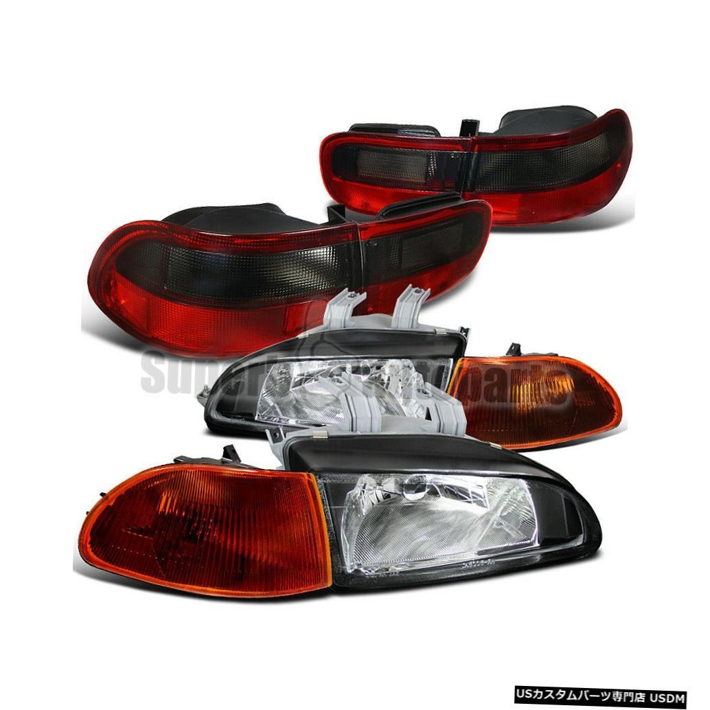 Black+Smoke 1992-1995シビック4Drヘッドライトブラック+スモークコーナーランプ+テールライト Headlight 4Dr Corner 1992-1995 light For Lamp+Tail Lights Tail Civic