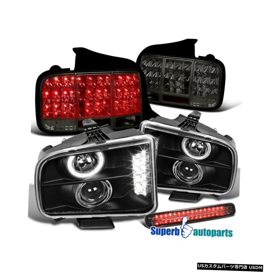 Tail light 2005-2009 Mustang Haloヘッドライト+ Seq LEDテールランプスモーク+ 3rdブレーキライト For 2005-2009 Mustang Halo Headlights+Seq LED Tail Lamps Smoke+3rd Brake light