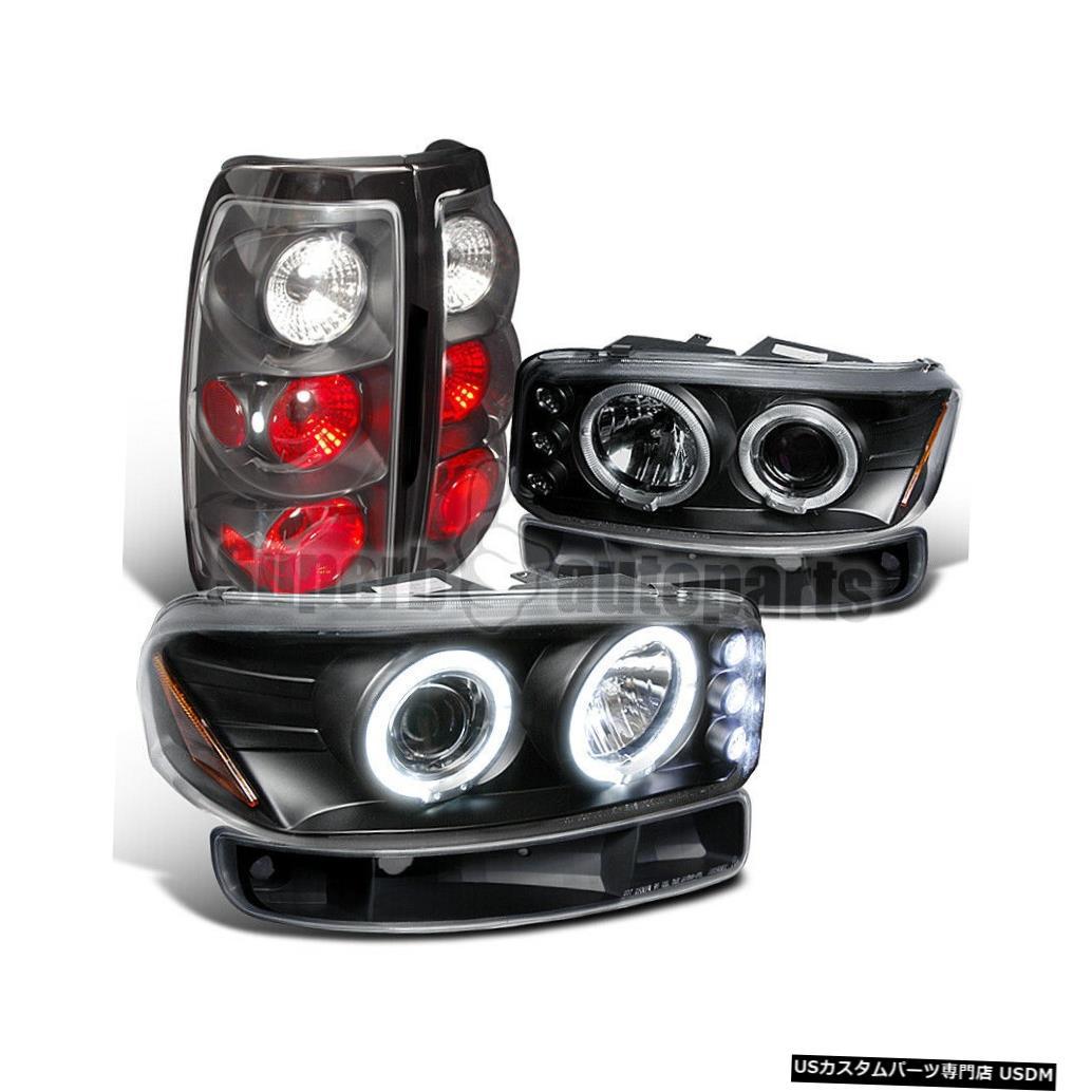 Tail light 1999-2003シエラフリートサイドプロジェクターヘッドライト+バンパー+テールライトブラック For 1999-2003 Sierra Fleetside Projector Headlights+Bumper+Tail Lights Black