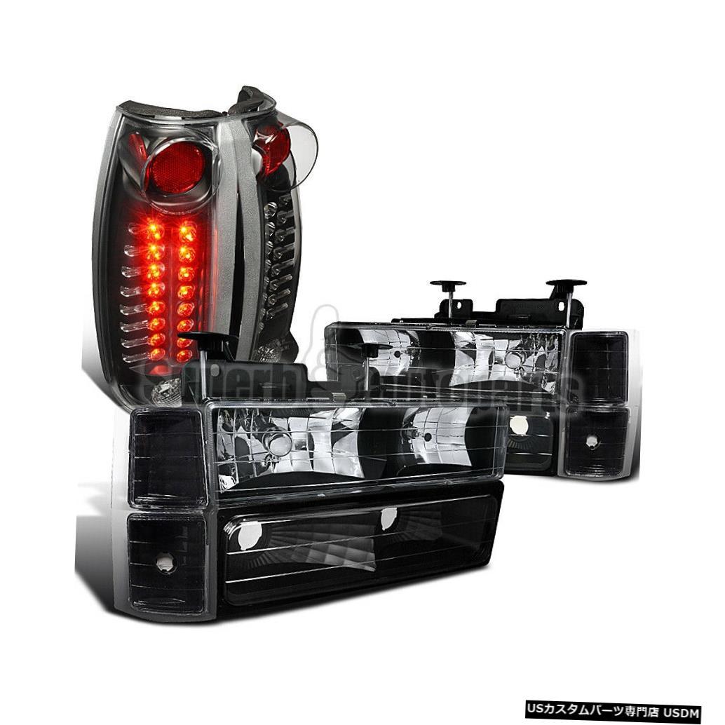 Tail light 1994?1998年のシルバラードブラックヘッドライト+バンパーコーナー+ブラックLEDテールライト For 1994-1998 Silverado Black Headlights+Bumper Corner+Black LED Tail Lights