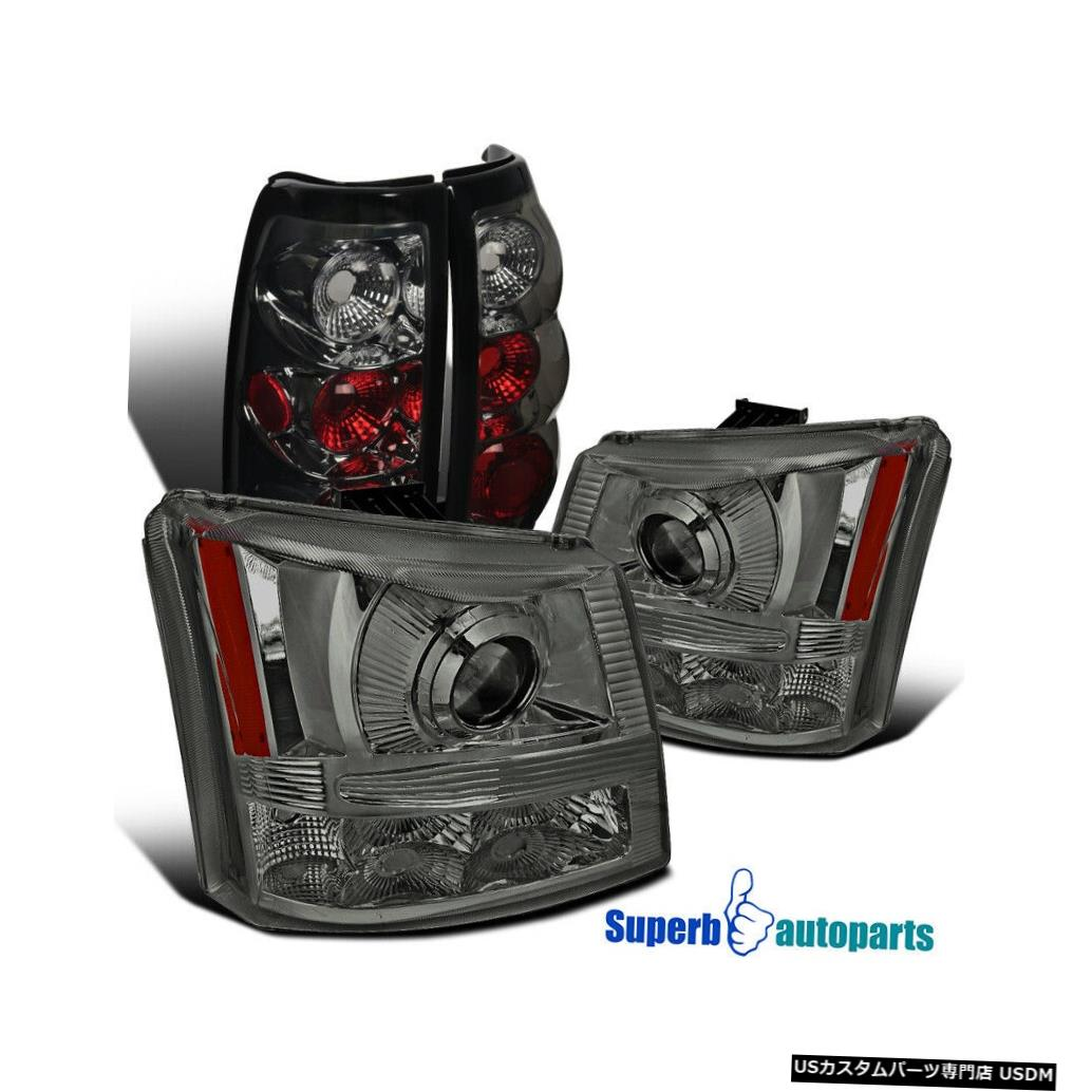 Tail light 2003-2006シェビーシルバラードスモーク2in1プロジェクターヘッドライト+スモークテールライト For 2003-2006 Chevy Silverado Smoke 2in1 Projector Headlights+Smoke Tail Lights