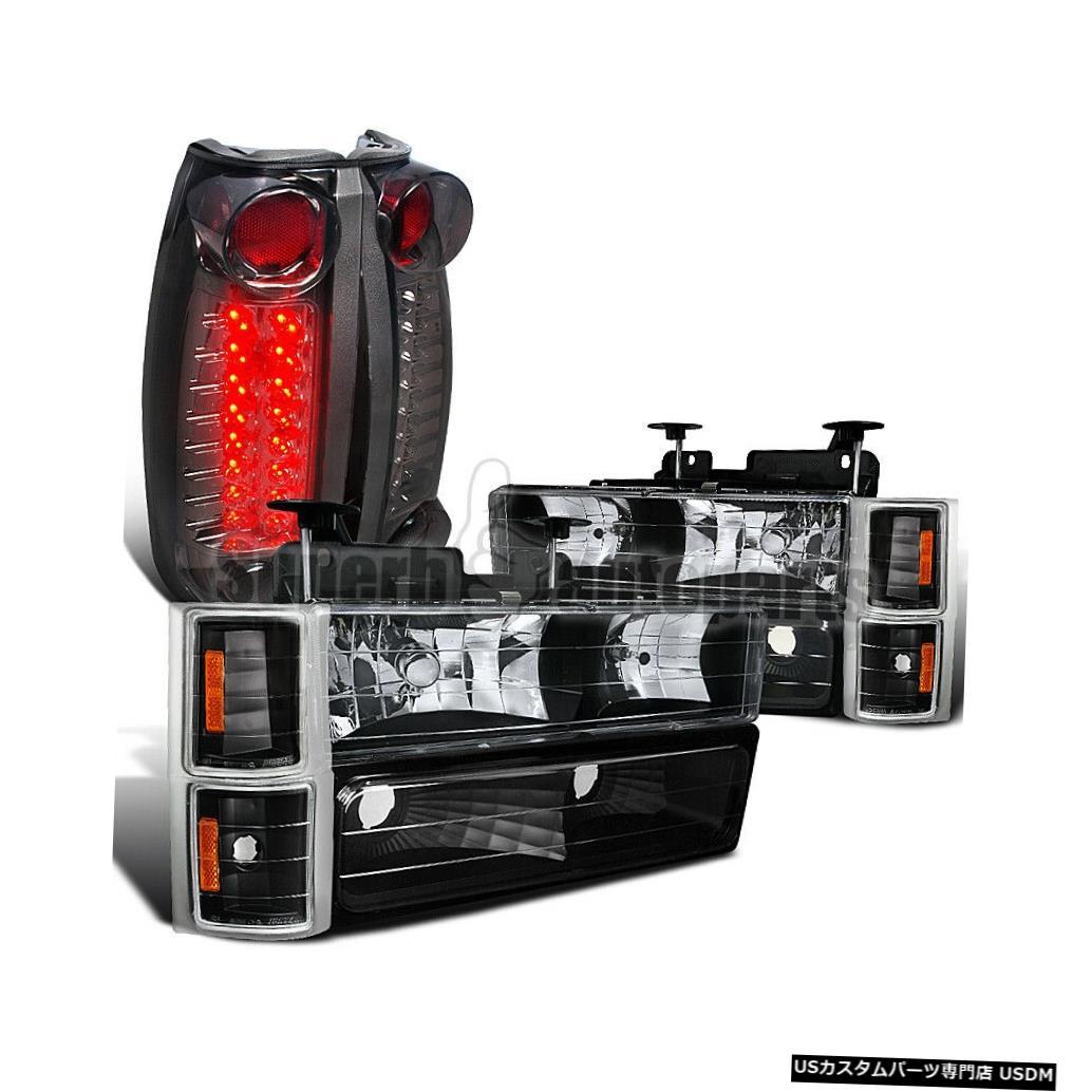 Tail light 1994?1998年のシルバラードブラックヘッドライト+コーナーバンパーランプ+ LEDテールライトの煙 For 1994-1998 Silverado Black Headlight+Corner Bumper Lamp+LED Tail Lights Smoke